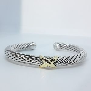 DAVID YURMAN 7mm X BRACELET WITH GOLD